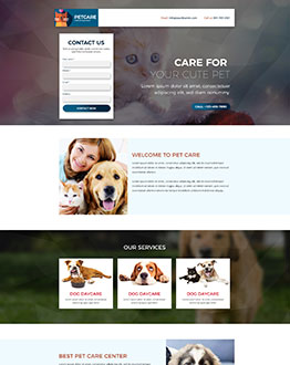 pets care services landing page template