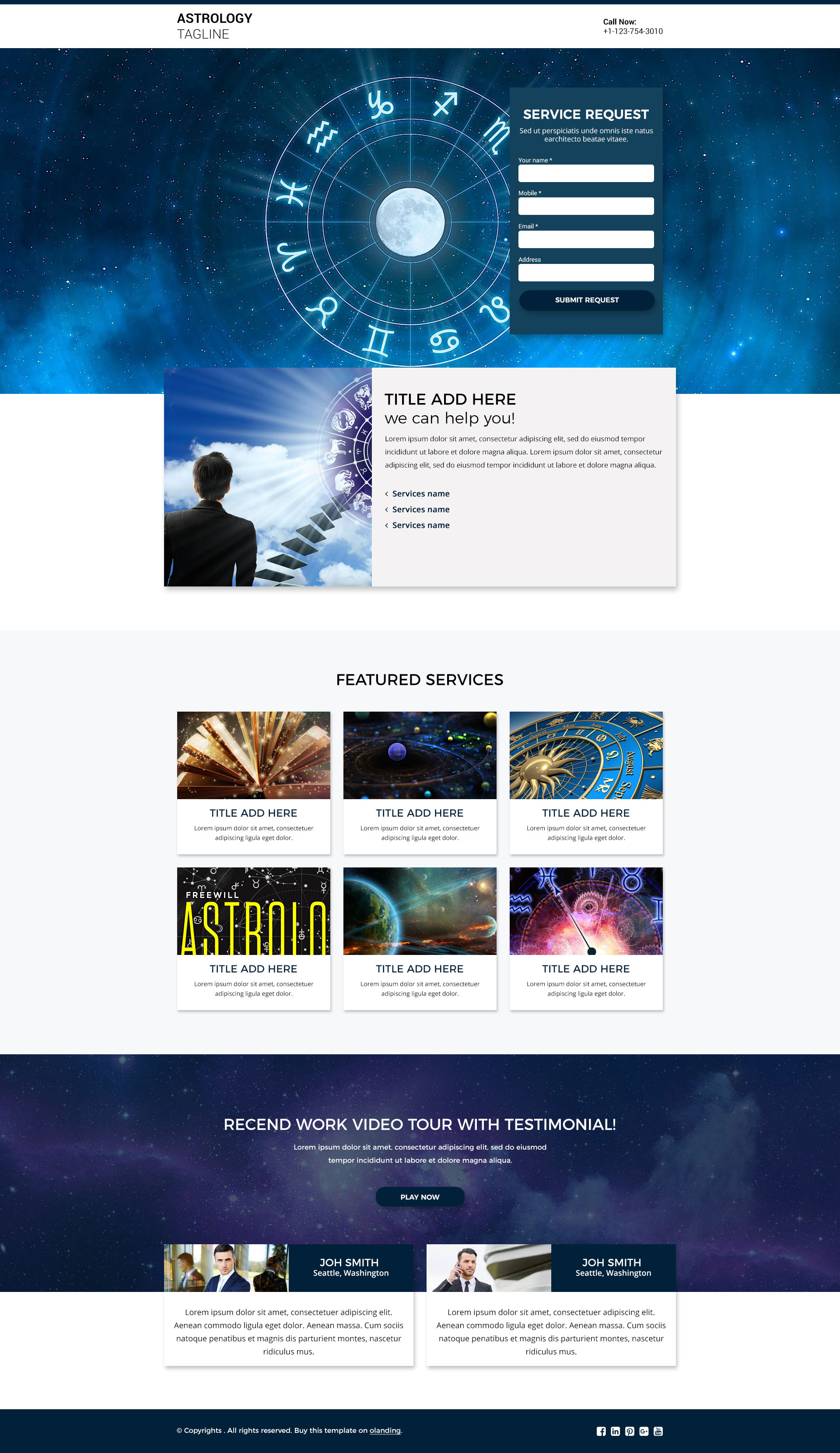 astrology landing page template