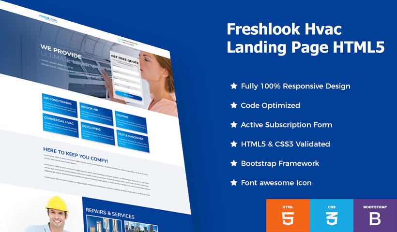 hvac landing page template