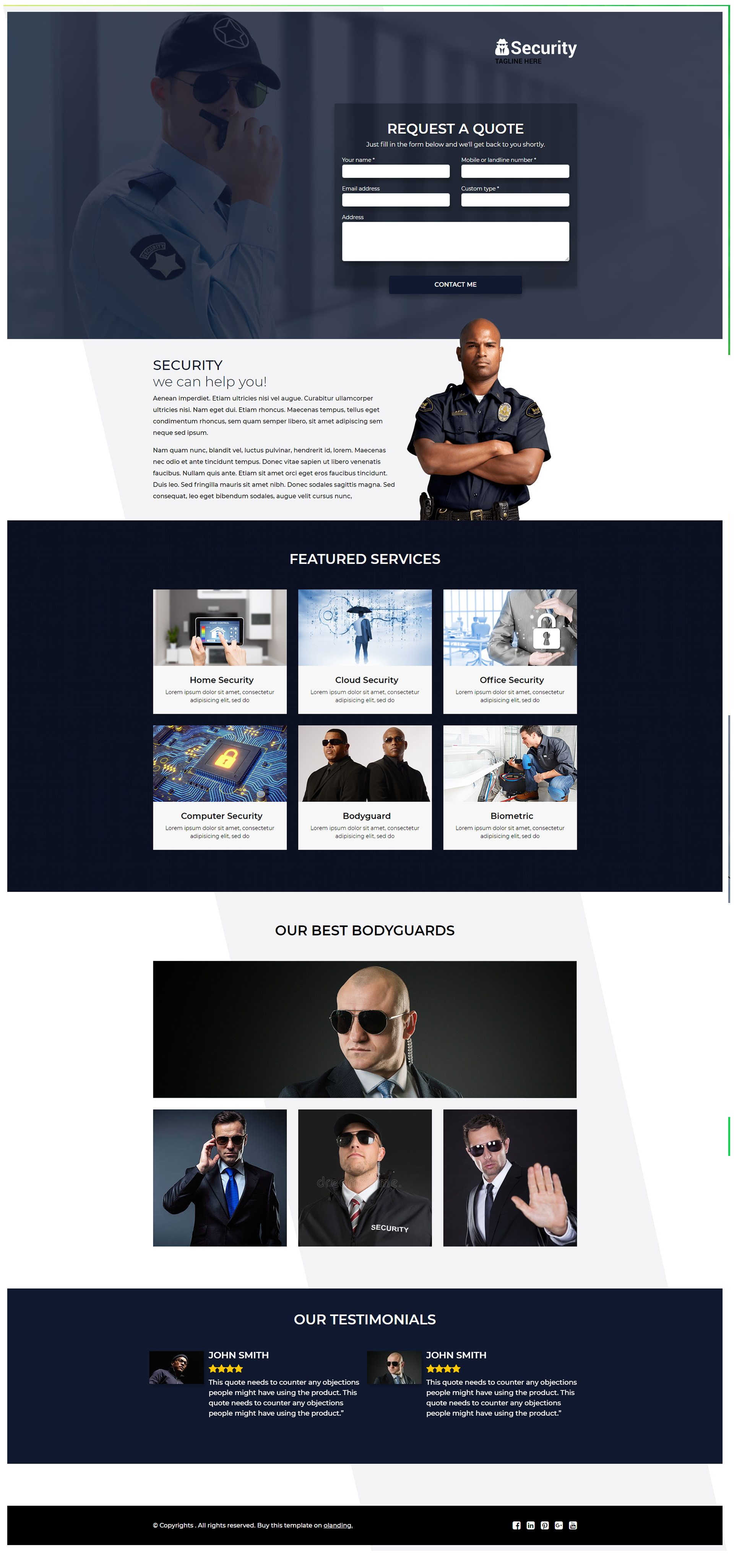 security company landing page template