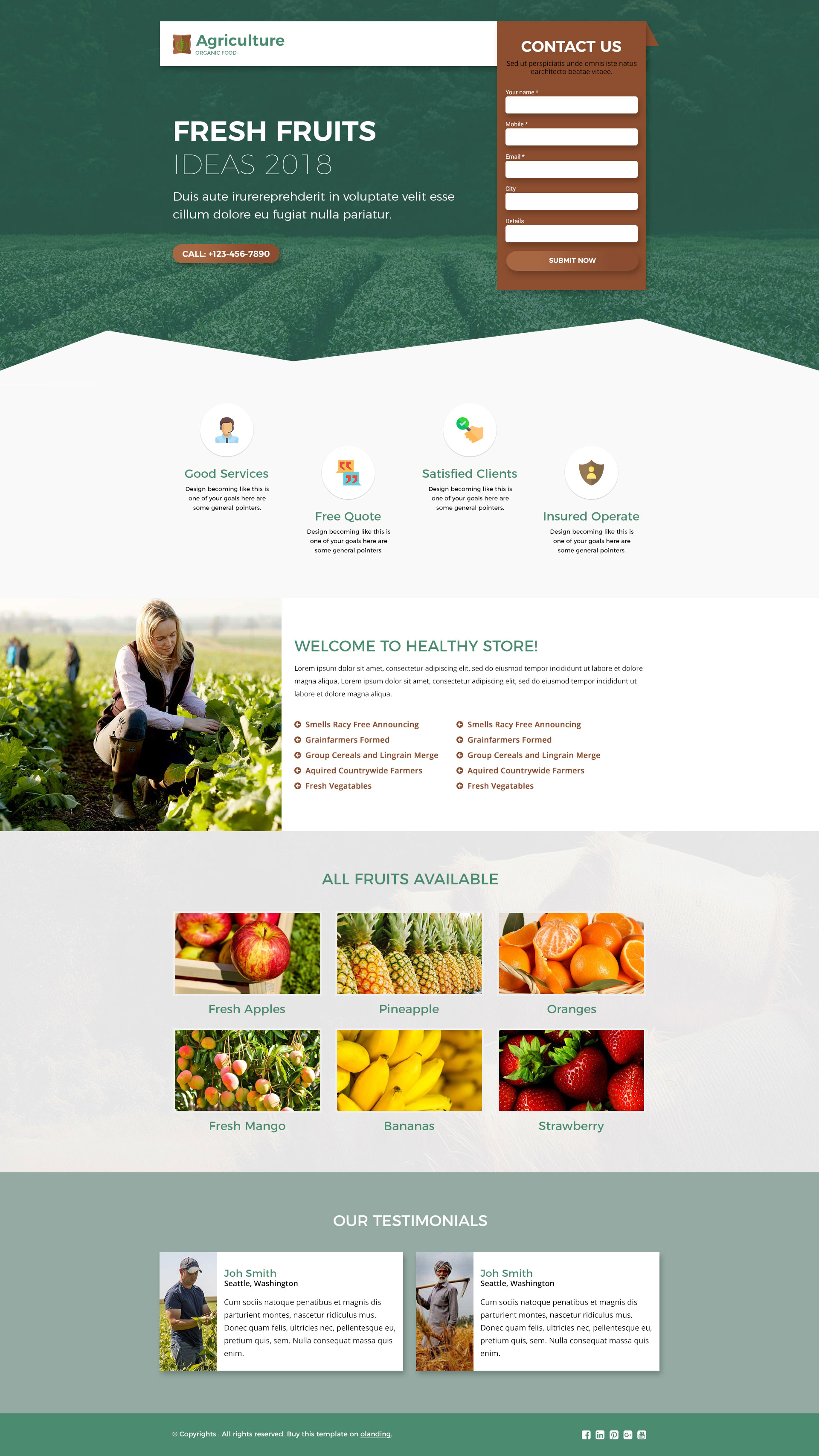 agriculture landing page design template