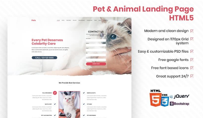 Animal Landing Page Template