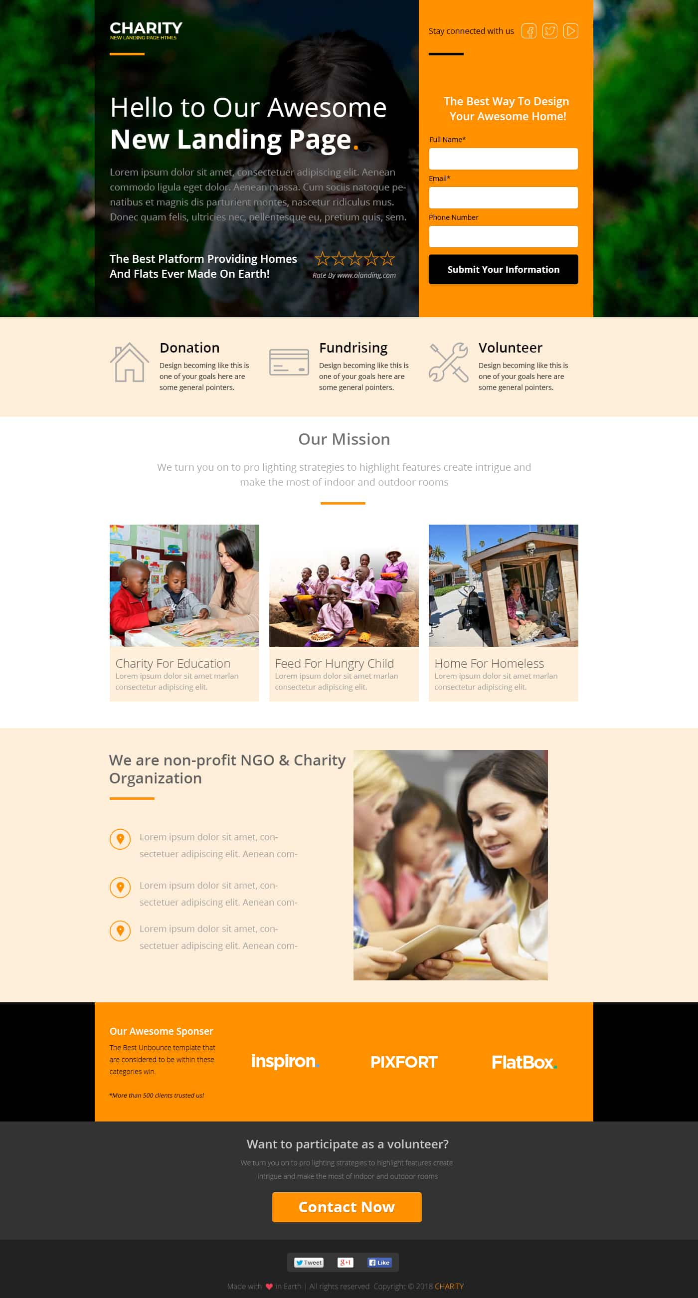 charity landing page template responsive charity website theme