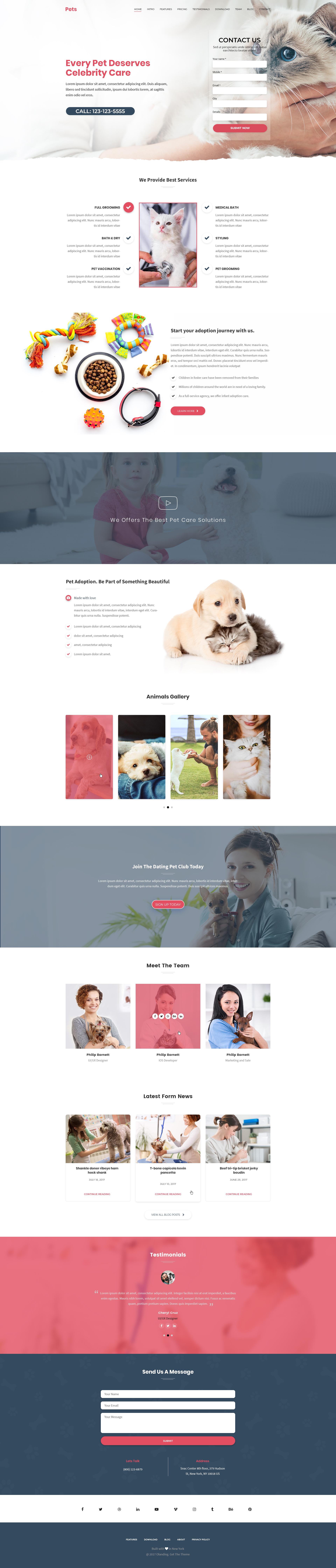 Animal Care Landing Page