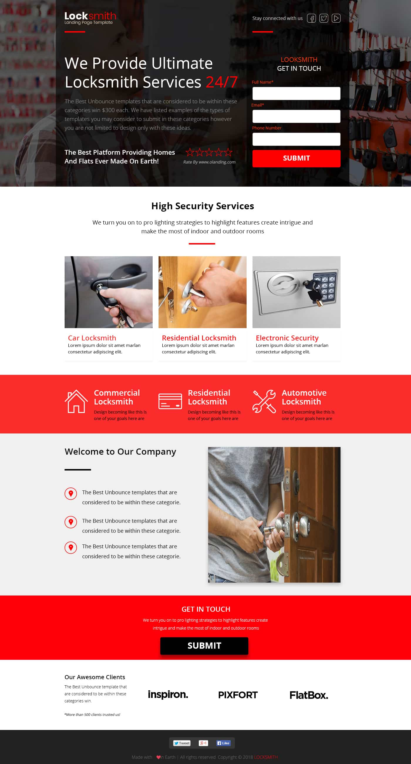 Locksmith Landing Page