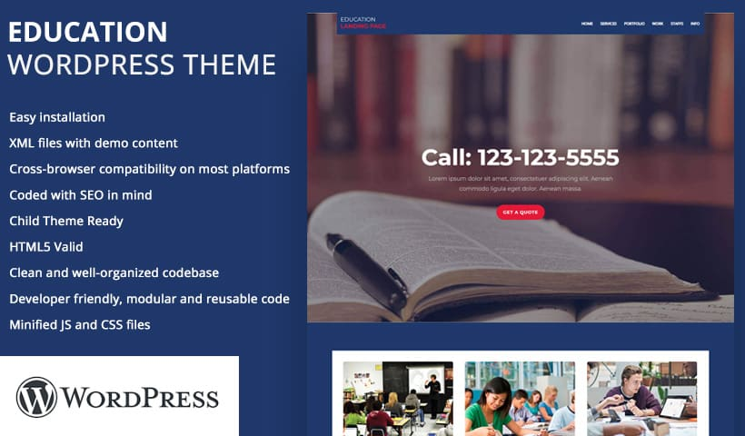 education WP Landing Page Template