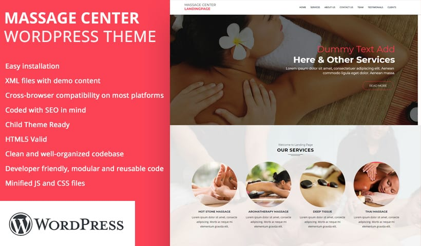 massage center WP Landing Page