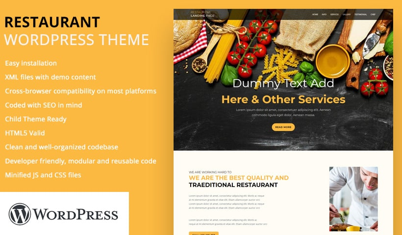 restaurant WP Landing Page Template
