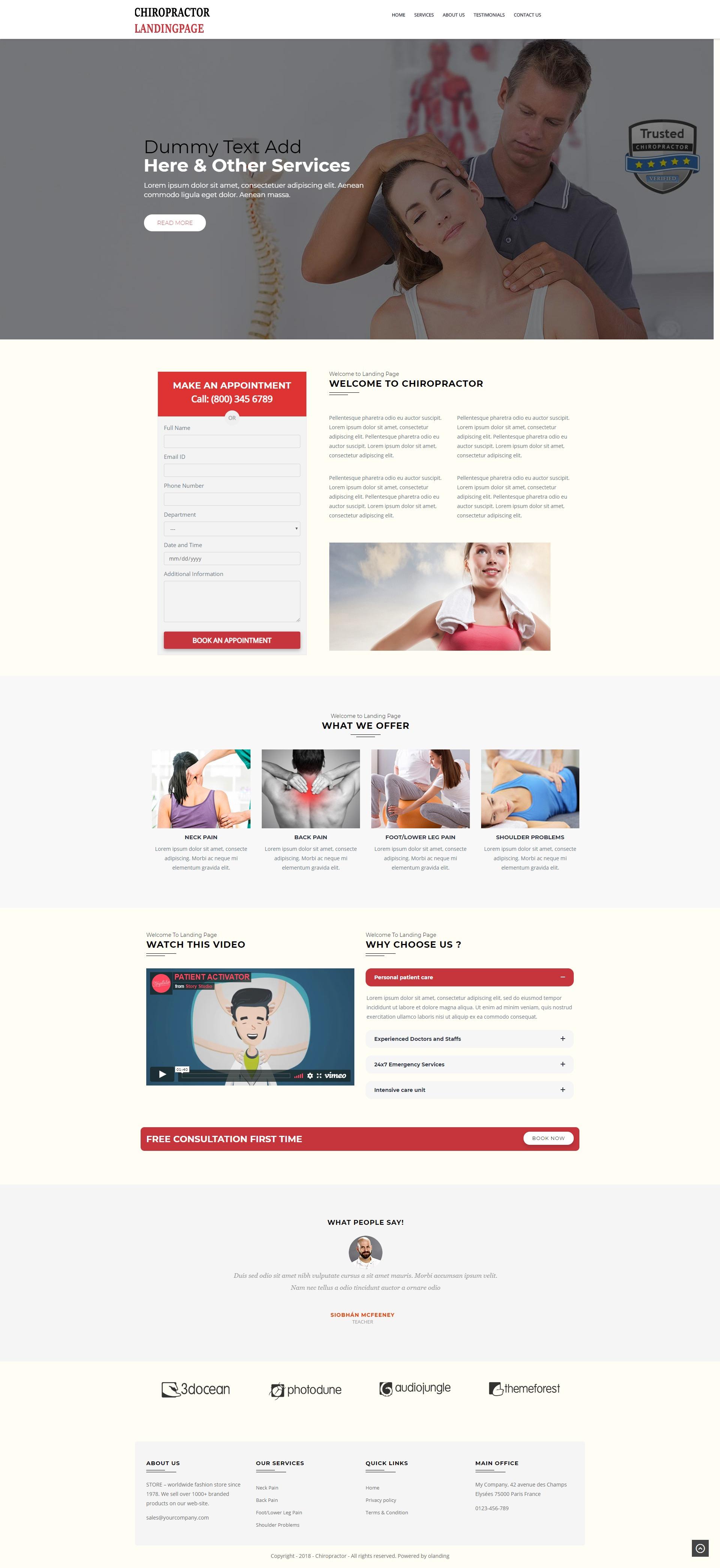 chiropractor WP Landing Page