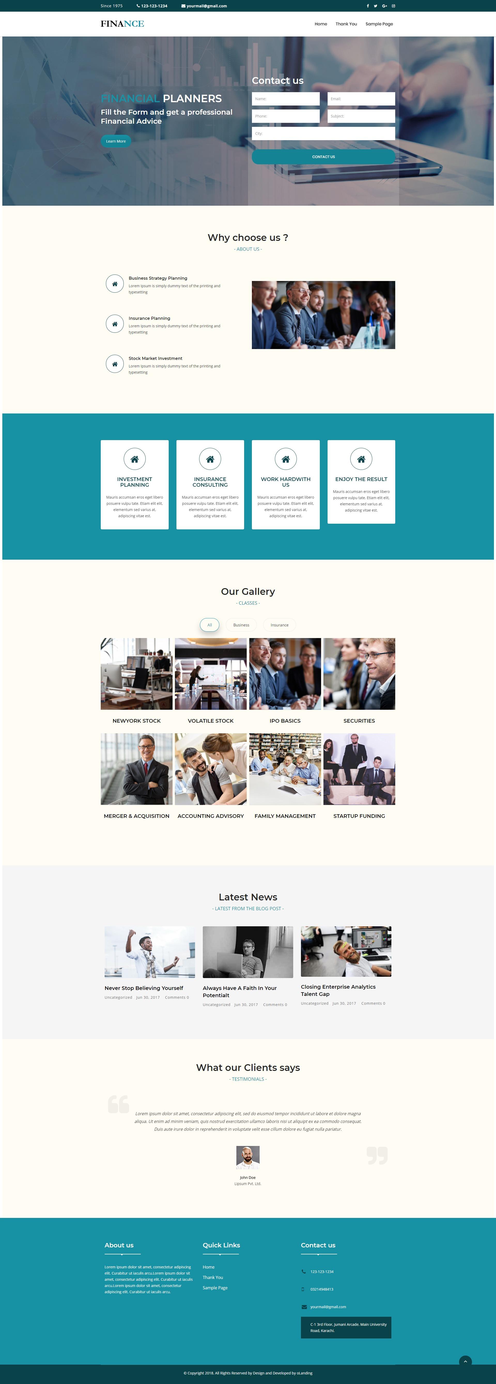 Finance and Business WordPress Landing Page Theme